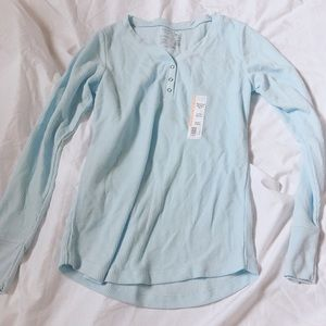 Time and Thu blue thermal Henley tee long sleeve M